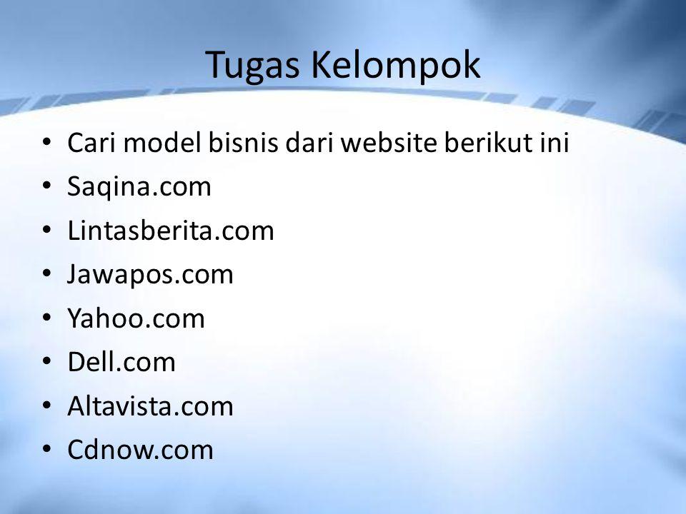 Tugas Kelompok Cari model bisnis dari website berikut ini Saqina.com Lintasberita.com Jawapos.com Yahoo.com Dell.com Altavista.com Cdnow.com