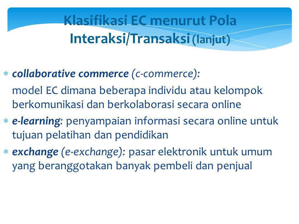 Klasifikasi EC menurut Pola Interaksi/Transaksi (lanjut)  collaborative commerce (c-commerce): model EC dimana beberapa individu atau kelompok berkom