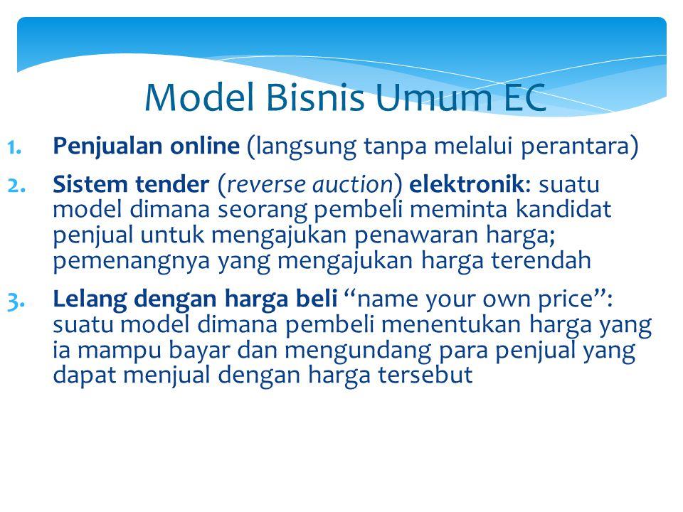 Model Bisnis Umum EC 1.Penjualan online (langsung tanpa melalui perantara) 2.Sistem tender (reverse auction) elektronik: suatu model dimana seorang pe