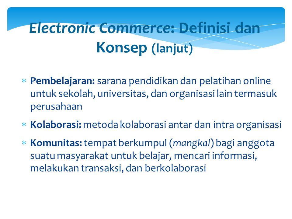 Model Bisnis Umum EC (lanjut) 6.Group purchasing: pembelian dalam skala besar yang memungkinkan sekelompok pembeli mendapatkan potongan harga 7.Lelang online