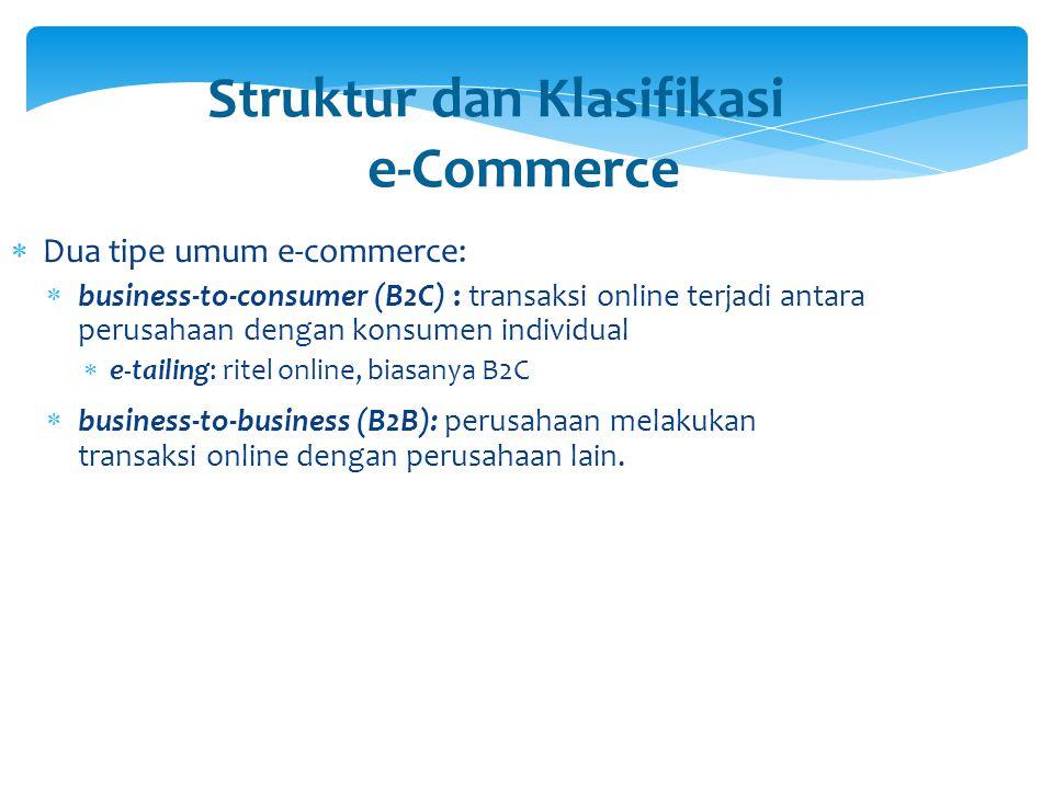 Struktur dan Klasifikasi e-Commerce (lanjut)  Infrastrukturnya  Internet: jaringan global  Intranet: jaringan milik perusahaan atau organisasi yang menggunakan teknologi Internet, seperti protokol Internet, browser Web, dsb.