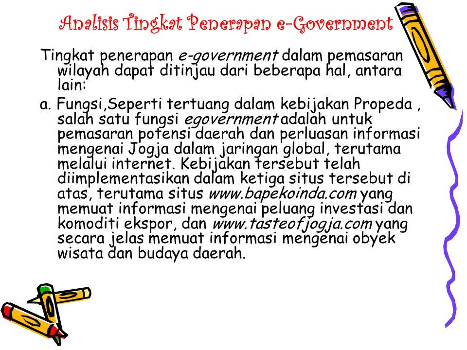 Analisis Tingkat Penerapan e-Government b.
