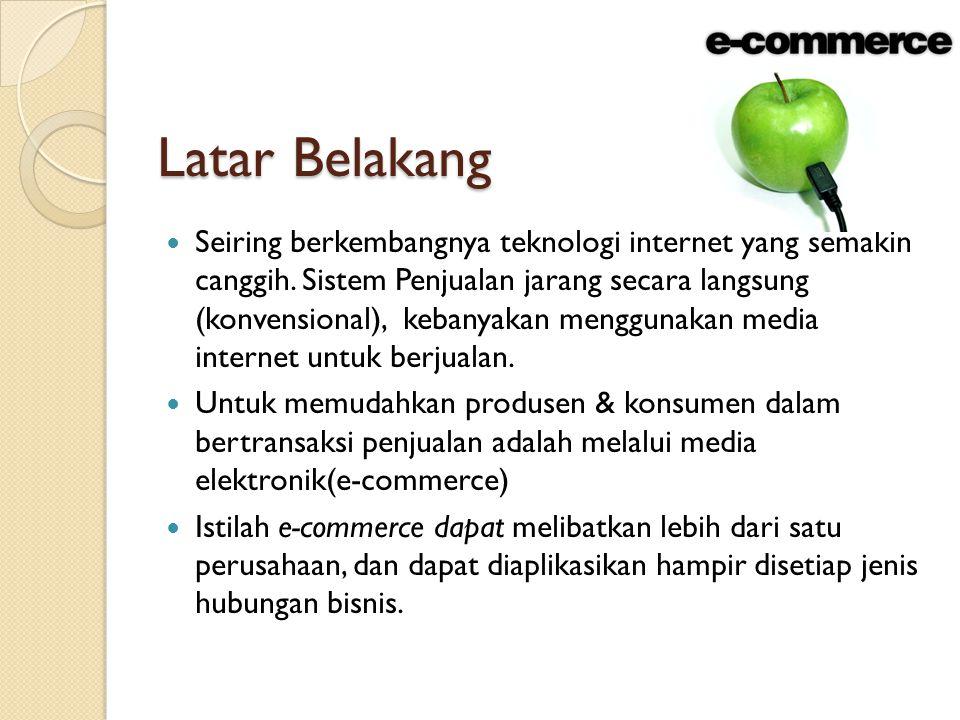 Latar Belakang Seiring berkembangnya teknologi internet yang semakin canggih. Sistem Penjualan jarang secara langsung (konvensional), kebanyakan mengg