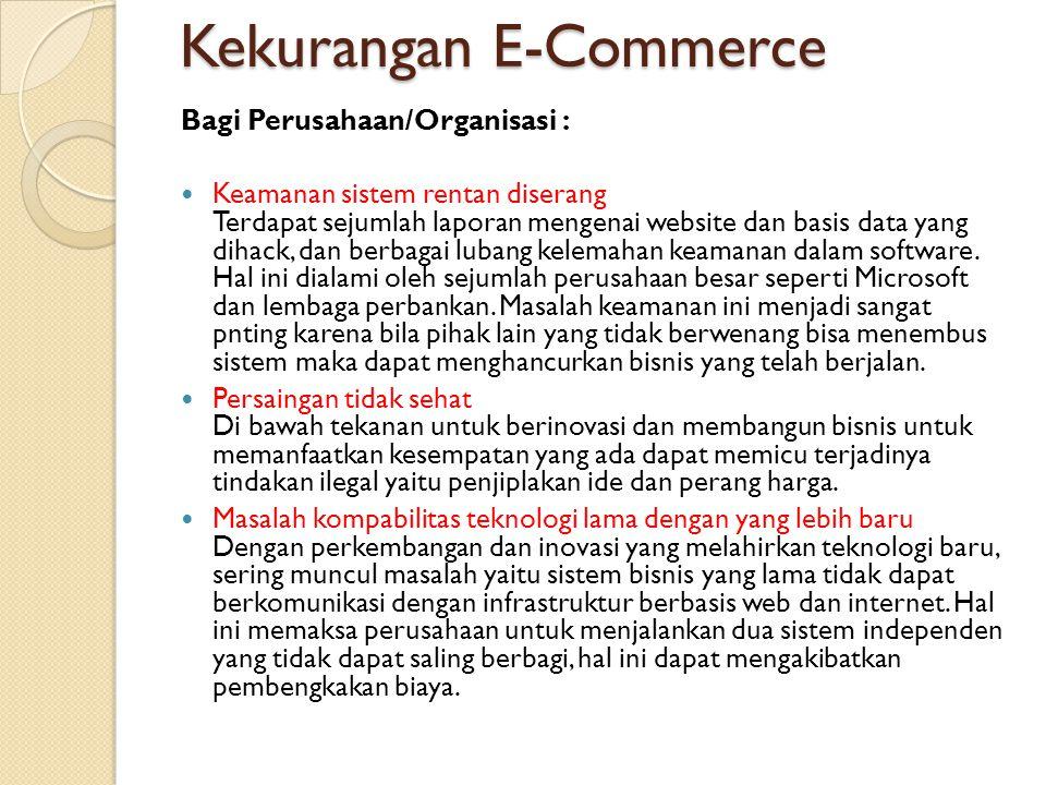 Kekurangan E-Commerce Bagi Konsumen: Biaya tambahan untuk mengakses internet Untuk ikut serta dalam e-commerce dibutuhkan koneksi internet yang tentu saja menambah pos pengeluaran bagi konsumen.