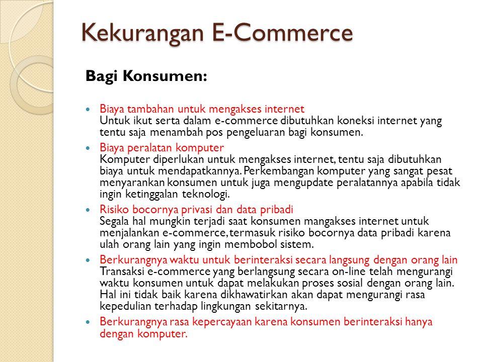 Kekurangan E-Commerce Bagi Konsumen: Biaya tambahan untuk mengakses internet Untuk ikut serta dalam e-commerce dibutuhkan koneksi internet yang tentu