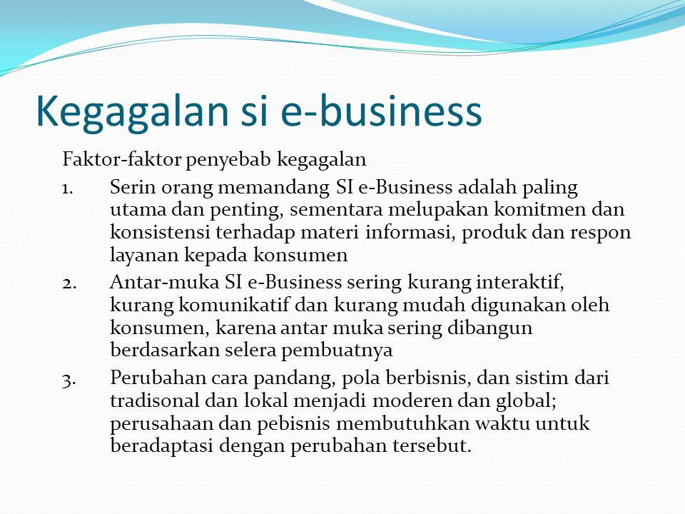 Kegagalan si e-business Faktor-faktor penyebab kegagalan 1.Serin orang memandang SI e-Business adalah paling utama dan penting, sementara melupakan ko