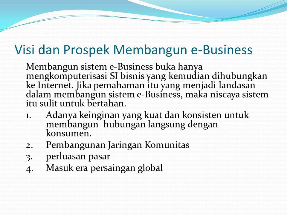Visi dan Prospek Membangun e-Business Membangun sistem e-Business buka hanya mengkomputerisasi SI bisnis yang kemudian dihubungkan ke Internet. Jika p