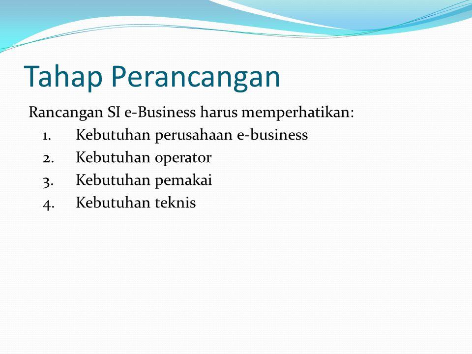 Tahap Perancangan Rancangan SI e-Business harus memperhatikan: 1.Kebutuhan perusahaan e-business 2.Kebutuhan operator 3.Kebutuhan pemakai 4.Kebutuhan