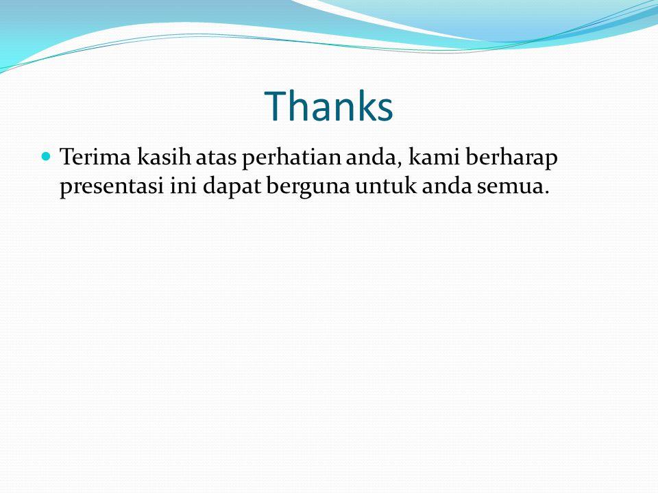 Thanks Terima kasih atas perhatian anda, kami berharap presentasi ini dapat berguna untuk anda semua.