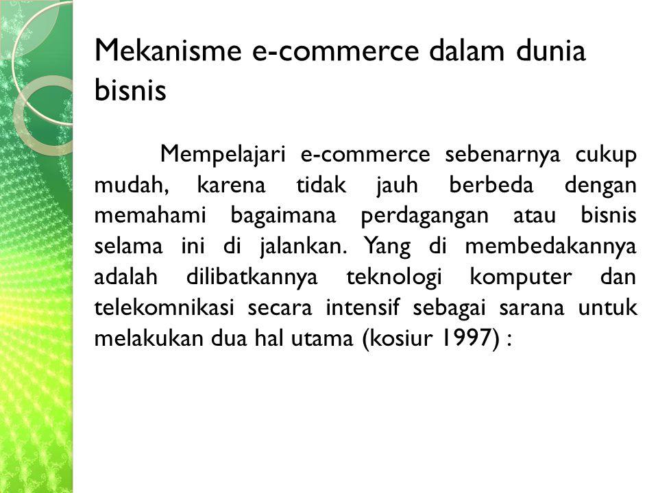 Mempelajari e-commerce sebenarnya cukup mudah, karena tidak jauh berbeda dengan memahami bagaimana perdagangan atau bisnis selama ini di jalankan.