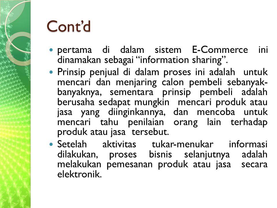 Cont'd pertama di dalam sistem E-Commerce ini dinamakan sebagai information sharing .