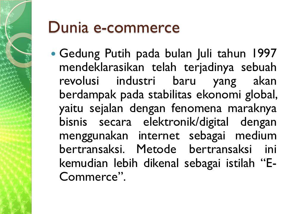 Dunia e-commerce Gedung Putih pada bulan Juli tahun 1997 mendeklarasikan telah terjadinya sebuah revolusi industri baru yang akan berdampak pada stabilitas ekonomi global, yaitu sejalan dengan fenomena maraknya bisnis secara elektronik/digital dengan menggunakan internet sebagai medium bertransaksi.