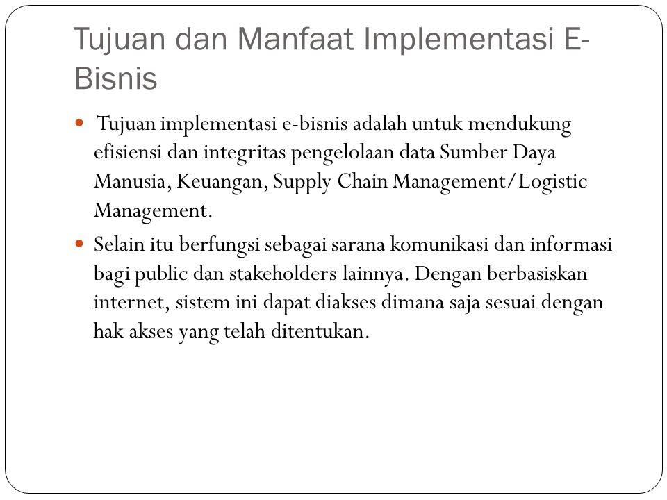 Tujuan dan Manfaat Implementasi E- Bisnis Tujuan implementasi e-bisnis adalah untuk mendukung efisiensi dan integritas pengelolaan data Sumber Daya Manusia, Keuangan, Supply Chain Management/Logistic Management.
