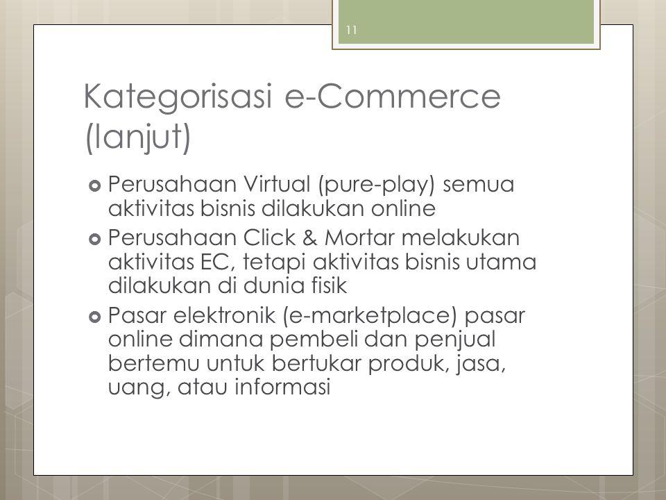 Kategorisasi e-Commerce (lanjut)  Perusahaan Virtual (pure-play) semua aktivitas bisnis dilakukan online  Perusahaan Click & Mortar melakukan aktivitas EC, tetapi aktivitas bisnis utama dilakukan di dunia fisik  Pasar elektronik (e-marketplace) pasar online dimana pembeli dan penjual bertemu untuk bertukar produk, jasa, uang, atau informasi 11