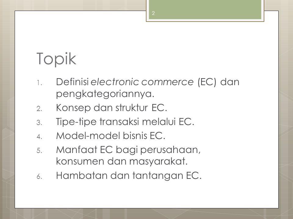2 Topik 1. Definisi electronic commerce (EC) dan pengkategoriannya. 2. Konsep dan struktur EC. 3. Tipe-tipe transaksi melalui EC. 4. Model-model bisni