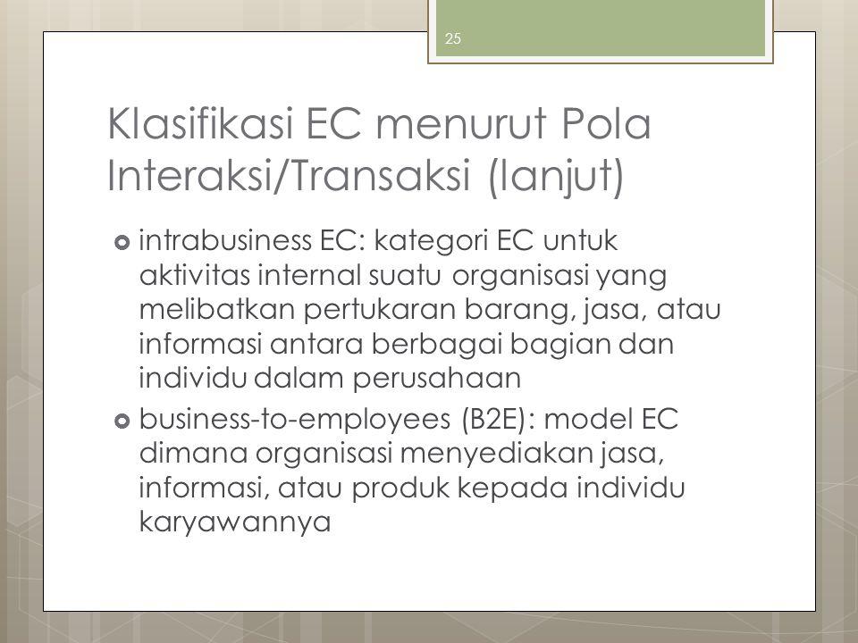 Klasifikasi EC menurut Pola Interaksi/Transaksi (lanjut)  intrabusiness EC: kategori EC untuk aktivitas internal suatu organisasi yang melibatkan pertukaran barang, jasa, atau informasi antara berbagai bagian dan individu dalam perusahaan  business-to-employees (B2E): model EC dimana organisasi menyediakan jasa, informasi, atau produk kepada individu karyawannya 25