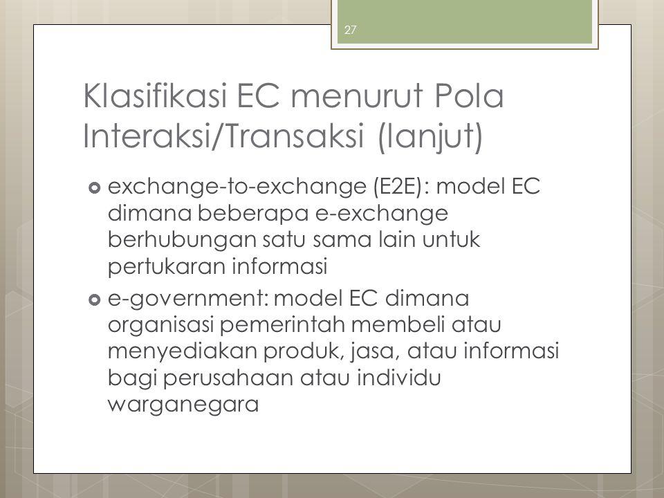 Klasifikasi EC menurut Pola Interaksi/Transaksi (lanjut)  exchange-to-exchange (E2E): model EC dimana beberapa e-exchange berhubungan satu sama lain untuk pertukaran informasi  e-government: model EC dimana organisasi pemerintah membeli atau menyediakan produk, jasa, atau informasi bagi perusahaan atau individu warganegara 27
