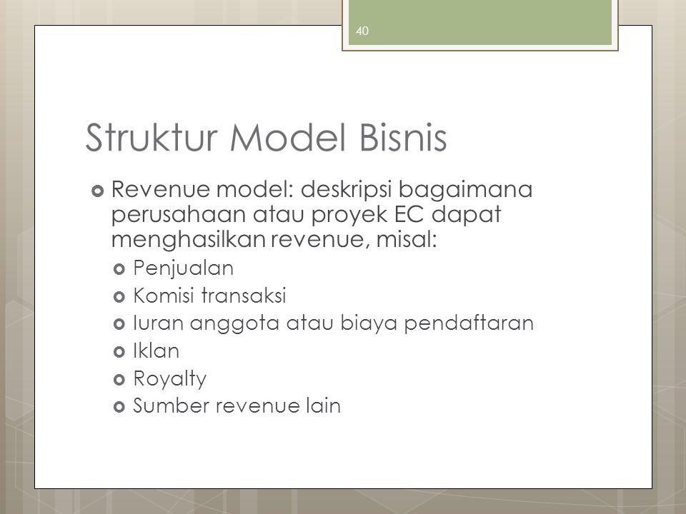 Struktur Model Bisnis  Revenue model: deskripsi bagaimana perusahaan atau proyek EC dapat menghasilkan revenue, misal:  Penjualan  Komisi transaksi  Iuran anggota atau biaya pendaftaran  Iklan  Royalty  Sumber revenue lain 40
