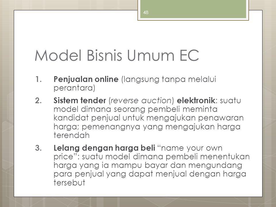 48 Model Bisnis Umum EC 1. Penjualan online (langsung tanpa melalui perantara) 2. Sistem tender (reverse auction) elektronik : suatu model dimana seor