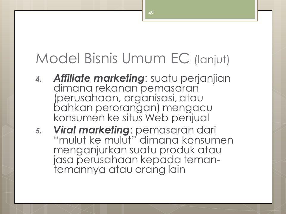 49 Model Bisnis Umum EC (lanjut) 4. Affiliate marketing : suatu perjanjian dimana rekanan pemasaran (perusahaan, organisasi, atau bahkan perorangan) m