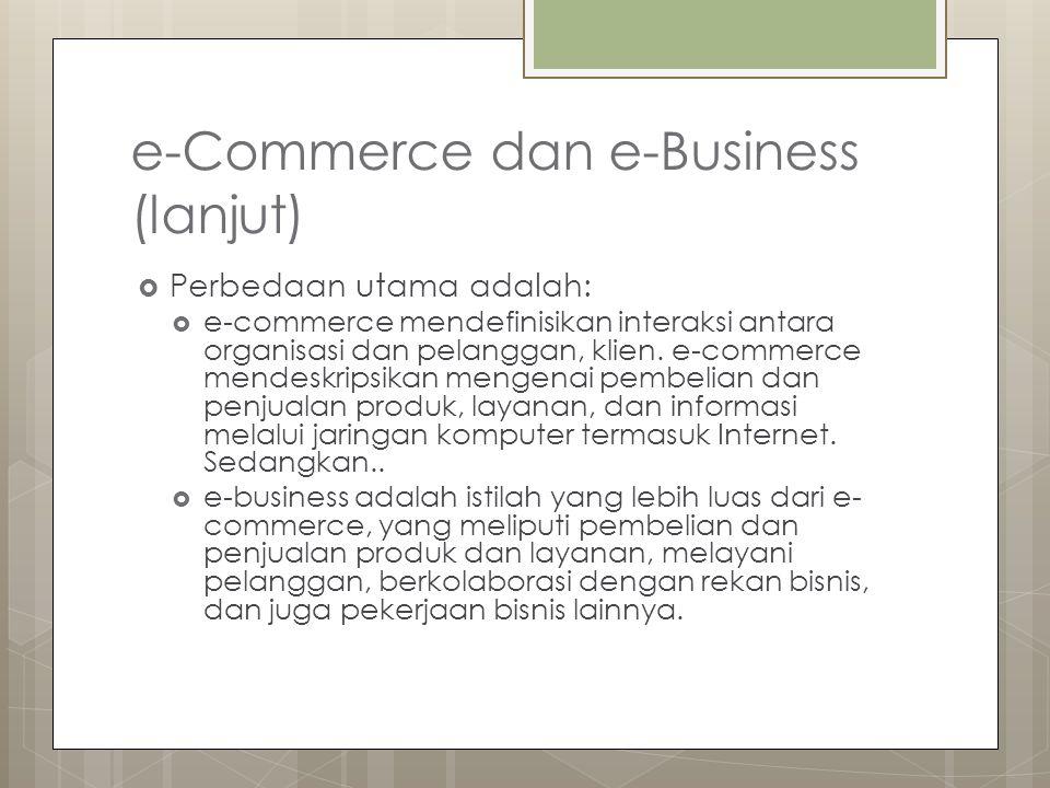 e-Commerce dan e-Business (lanjut) Tiga definisi alternatif hubungan antara e-business dan e-commerce e-commerce (EC) memiliki beberapa bagian yang tumpang tindih dengan e-business (EB) e-commerce (EC) secara umum sama dengan e-business (EB) e-commerce (EC) merupakan bagian dari e- business (EB)