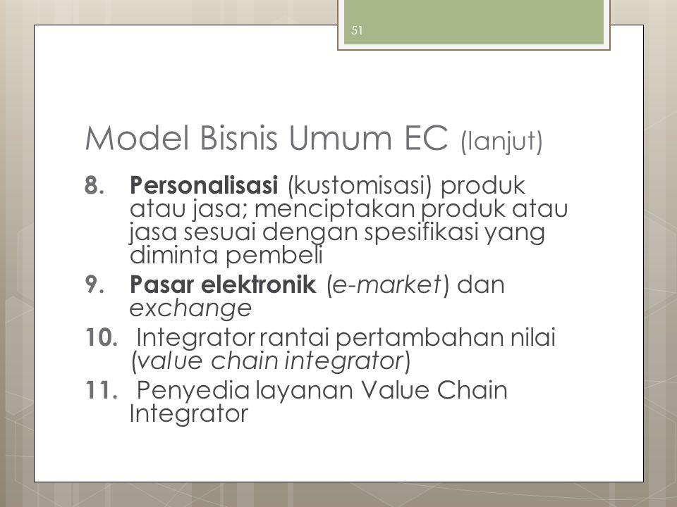 51 Model Bisnis Umum EC (lanjut) 8. Personalisasi (kustomisasi) produk atau jasa; menciptakan produk atau jasa sesuai dengan spesifikasi yang diminta