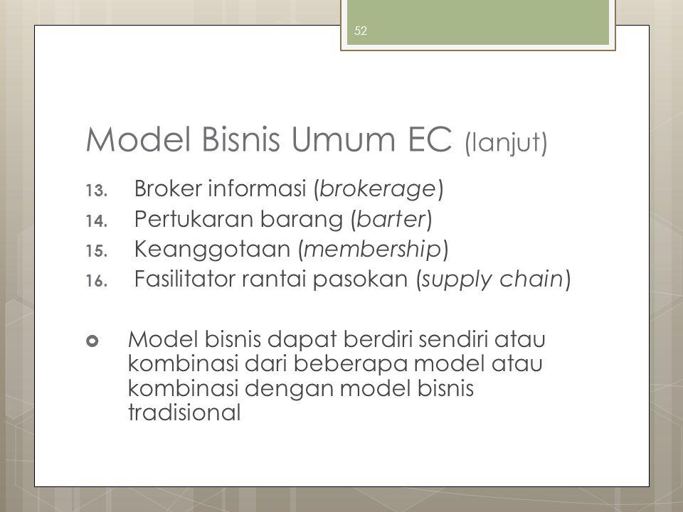 52 Model Bisnis Umum EC (lanjut) 13. Broker informasi (brokerage) 14. Pertukaran barang (barter) 15. Keanggotaan (membership) 16. Fasilitator rantai p