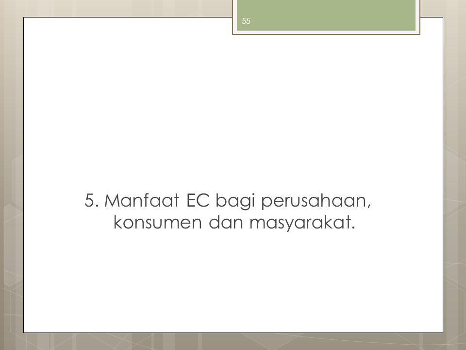 55 5. Manfaat EC bagi perusahaan, konsumen dan masyarakat.