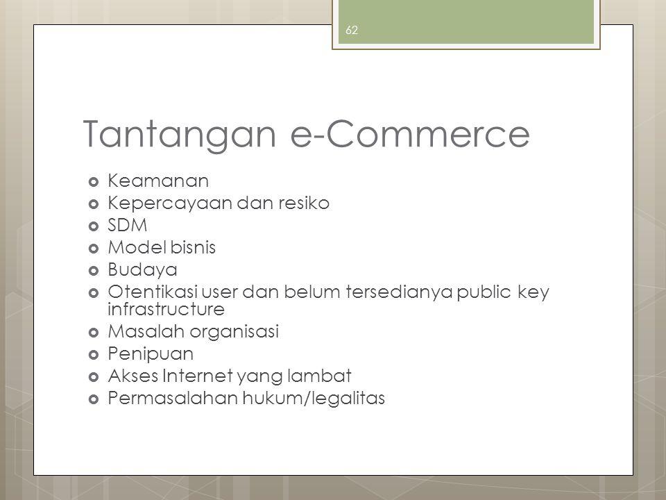Tantangan e-Commerce  Keamanan  Kepercayaan dan resiko  SDM  Model bisnis  Budaya  Otentikasi user dan belum tersedianya public key infrastructure  Masalah organisasi  Penipuan  Akses Internet yang lambat  Permasalahan hukum/legalitas 62