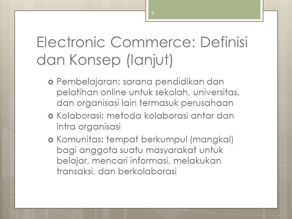 Electronic Commerce: Definisi dan Konsep (lanjut)  Pembelajaran: sarana pendidikan dan pelatihan online untuk sekolah, universitas, dan organisasi la