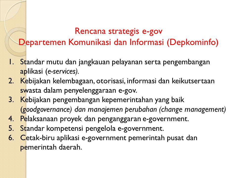 Rencana strategis e-gov Departemen Komunikasi dan Informasi (Depkominfo) 1.Standar mutu dan jangkauan pelayanan serta pengembangan aplikasi (e-service