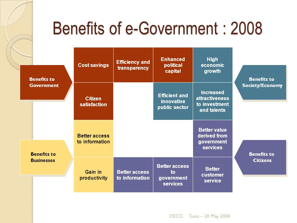 Benefits of e-Government : 2008 OECDTunis – 28 May 2008 Cost savings Efficiency and transparency Enhanced political capital High economic growth Citiz