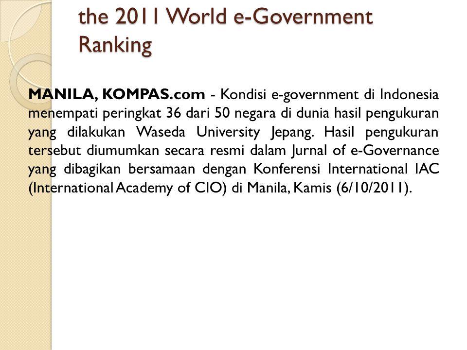 the 2011 World e-Government Ranking MANILA, KOMPAS.com - Kondisi e-government di Indonesia menempati peringkat 36 dari 50 negara di dunia hasil penguk