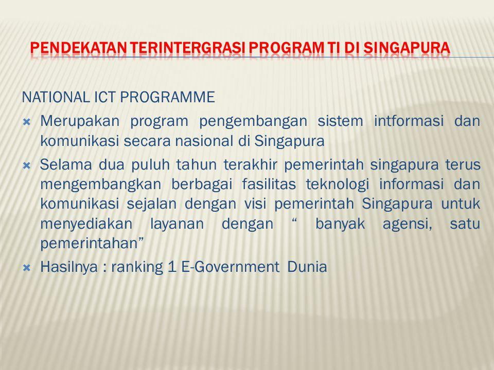 NATIONAL ICT PROGRAMME  Merupakan program pengembangan sistem intformasi dan komunikasi secara nasional di Singapura  Selama dua puluh tahun terakhi
