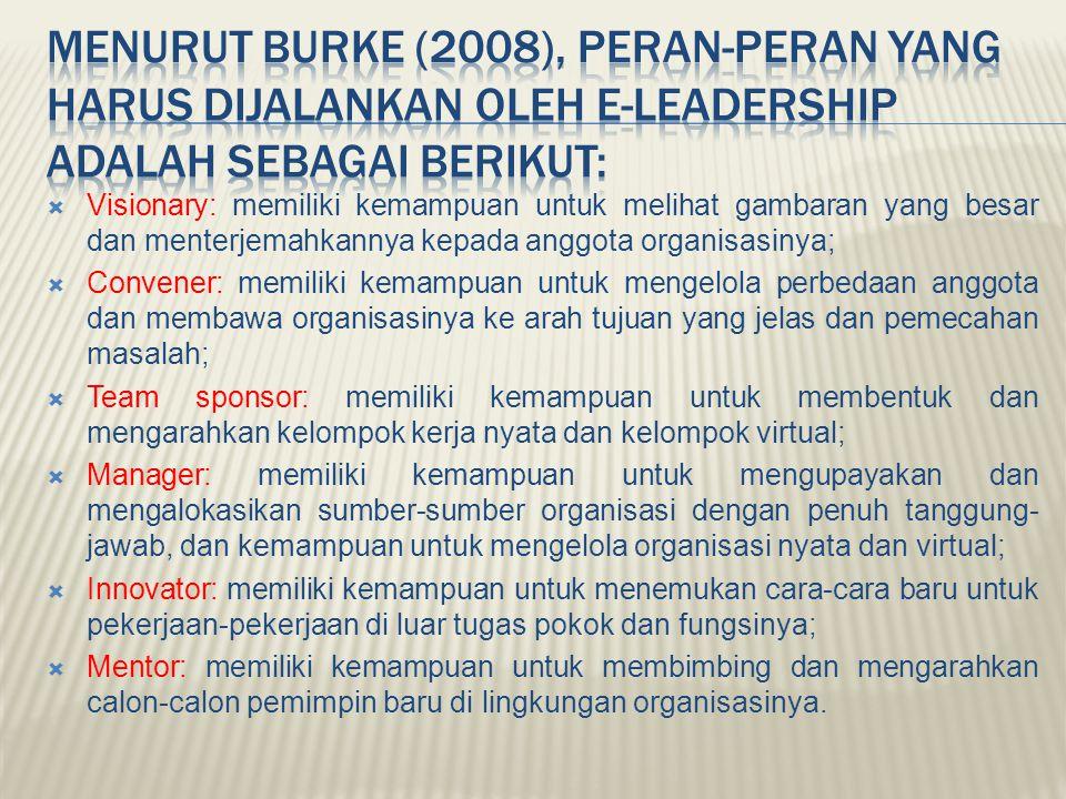  Visionary: memiliki kemampuan untuk melihat gambaran yang besar dan menterjemahkannya kepada anggota organisasinya;  Convener: memiliki kemampuan u