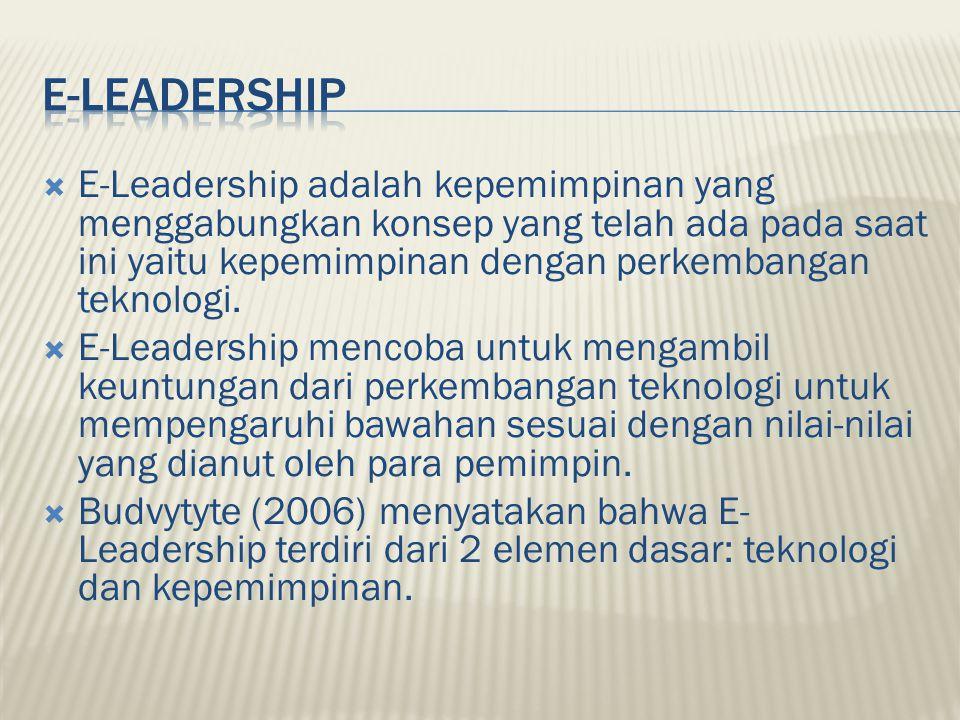  E-Leadership adalah kepemimpinan yang menggabungkan konsep yang telah ada pada saat ini yaitu kepemimpinan dengan perkembangan teknologi.  E-Leader