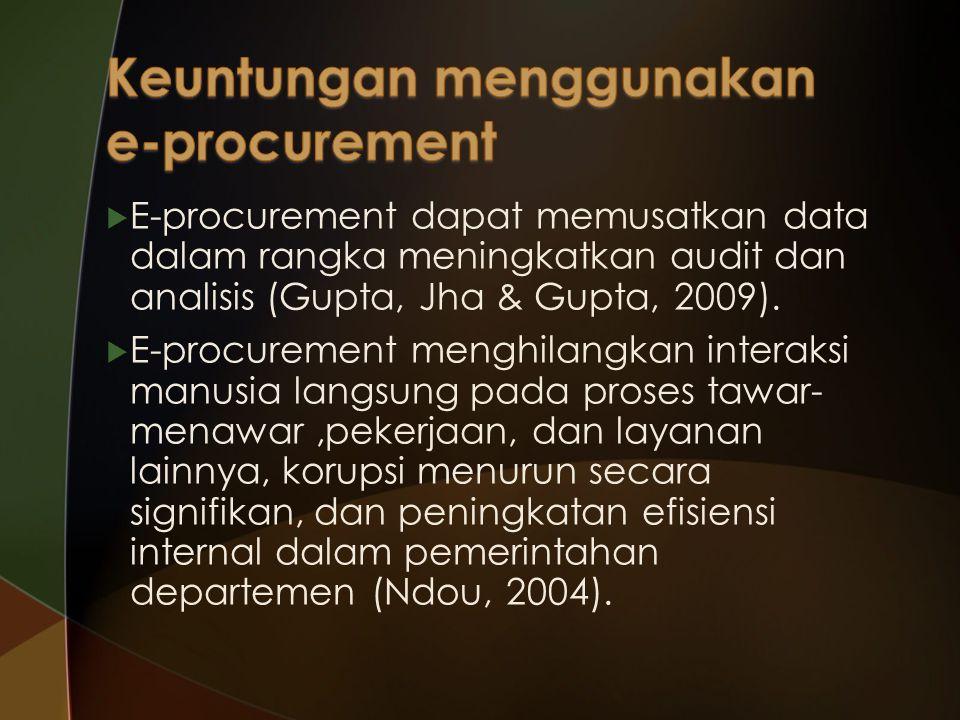  E-procurement dapat memusatkan data dalam rangka meningkatkan audit dan analisis (Gupta, Jha & Gupta, 2009).