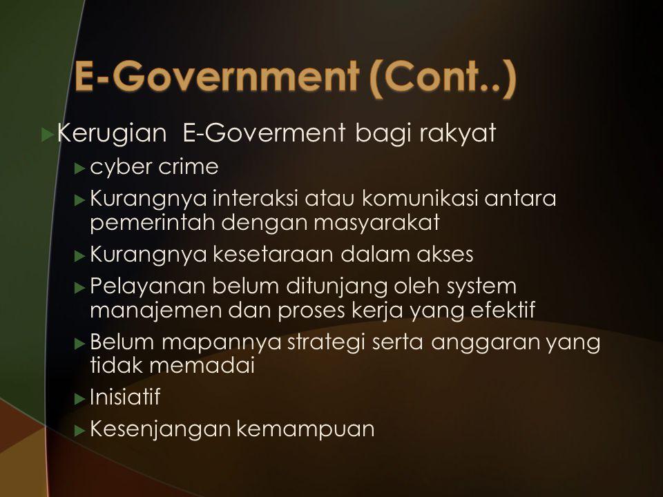  Kerugian E-Goverment bagi rakyat  cyber crime  Kurangnya interaksi atau komunikasi antara pemerintah dengan masyarakat  Kurangnya kesetaraan dalam akses  Pelayanan belum ditunjang oleh system manajemen dan proses kerja yang efektif  Belum mapannya strategi serta anggaran yang tidak memadai  Inisiatif  Kesenjangan kemampuan