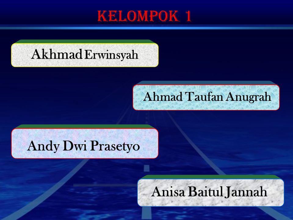 Kelompok 1 Ahmad Taufan Anugrah Andy Dwi Prasetyo Anisa Baitul Jannah Akhmad Erwinsyah