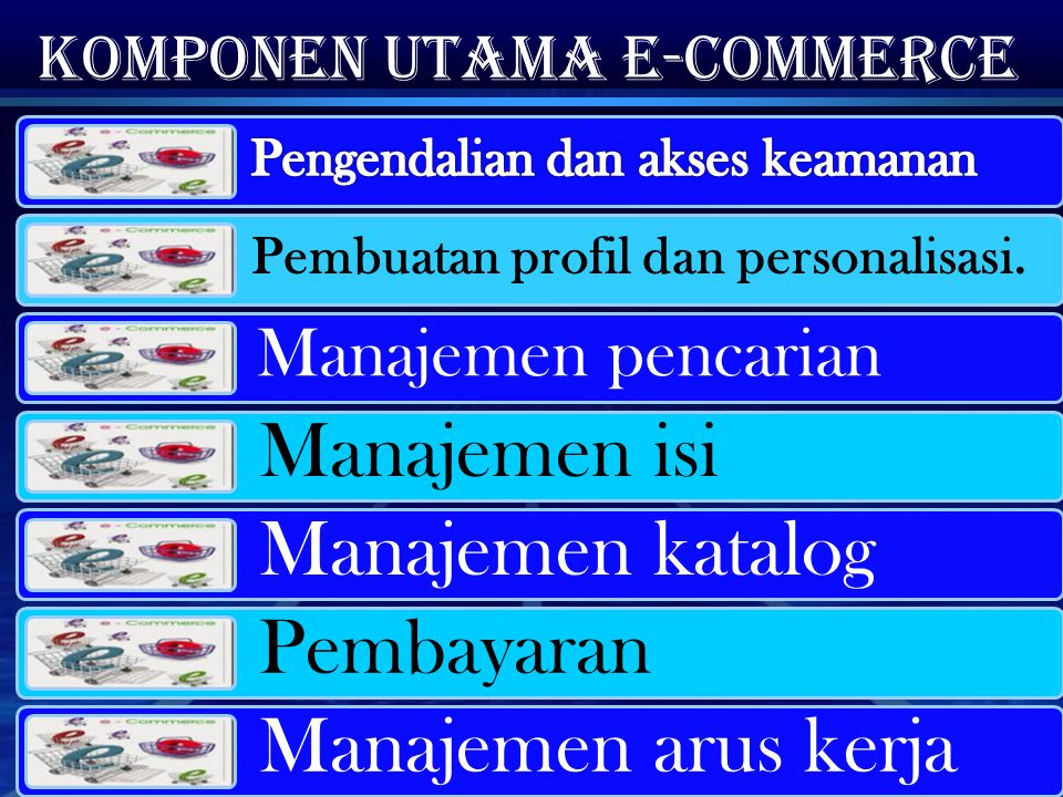 Komponen utama e-commerce Pembuatan profil dan personalisasi. Manajemen pencarian Manajemen isi Manajemen katalog Pembayaran Manajemen arus kerja