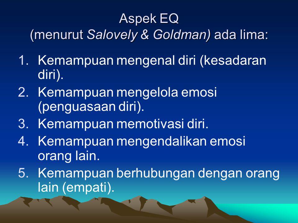 Aspek EQ (menurut Salovely & Goldman) ada lima: 1.Kemampuan mengenal diri (kesadaran diri).
