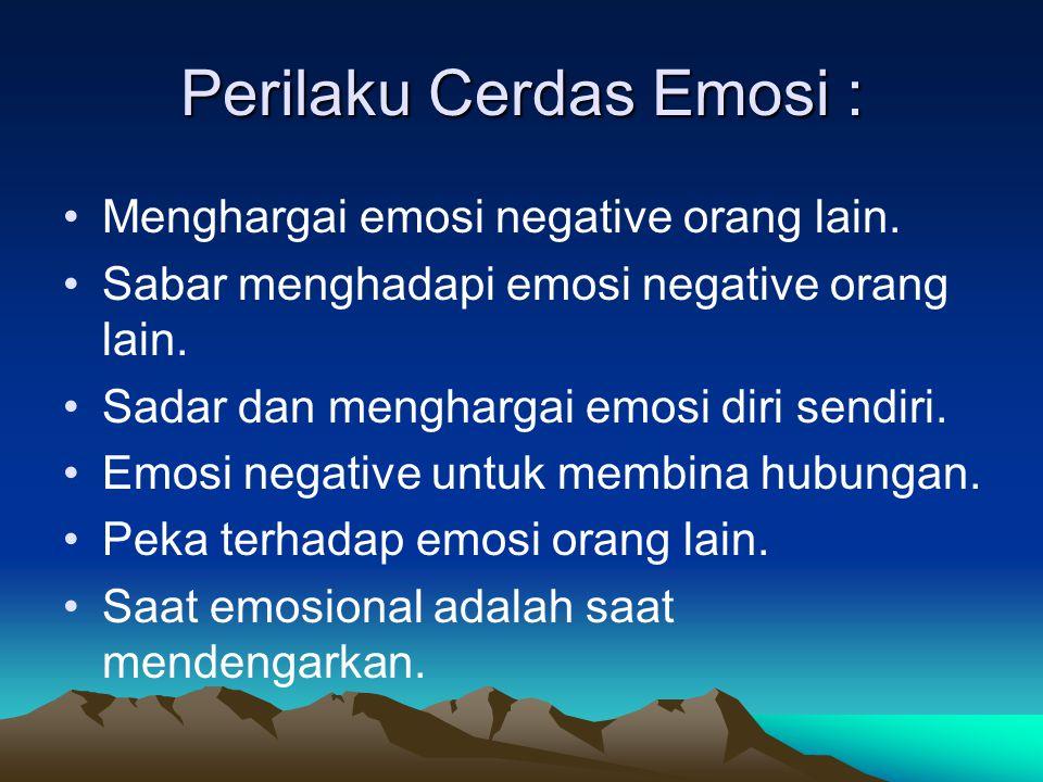 Perilaku Cerdas Emosi : Menghargai emosi negative orang lain.