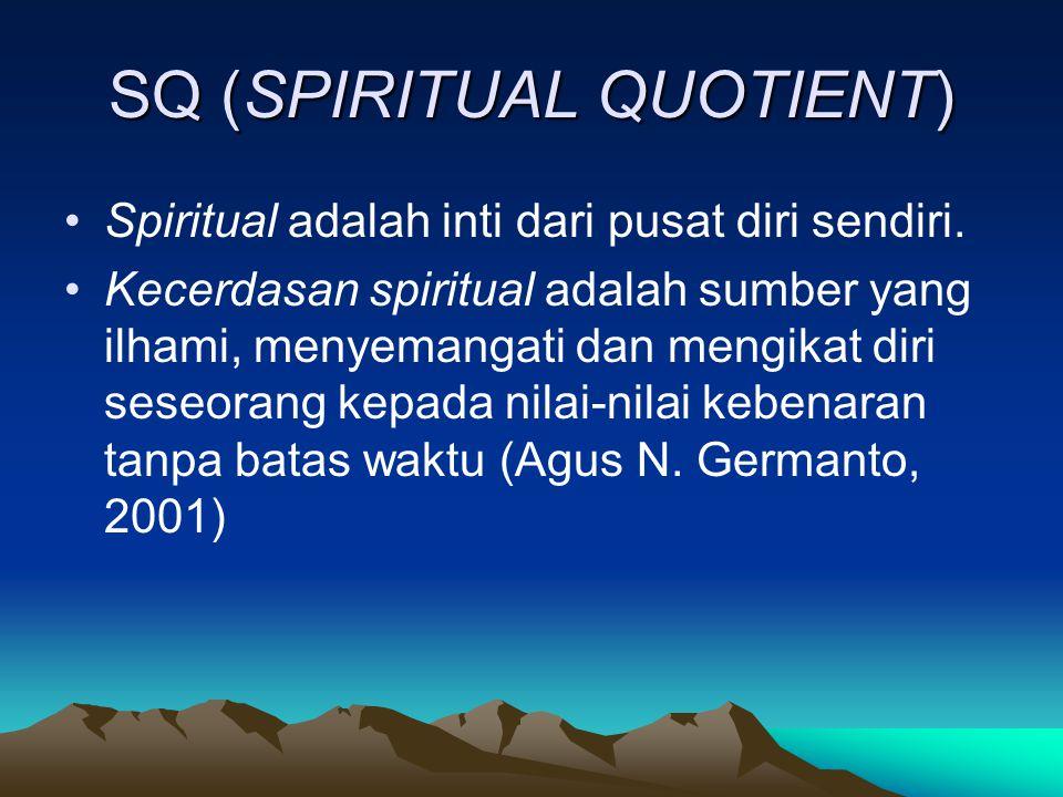 SQ (SPIRITUAL QUOTIENT) Spiritual adalah inti dari pusat diri sendiri.