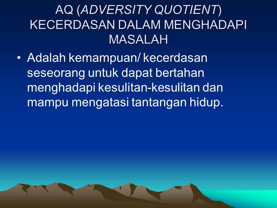 AQ (ADVERSITY QUOTIENT) KECERDASAN DALAM MENGHADAPI MASALAH Adalah kemampuan/ kecerdasan seseorang untuk dapat bertahan menghadapi kesulitan-kesulitan dan mampu mengatasi tantangan hidup.