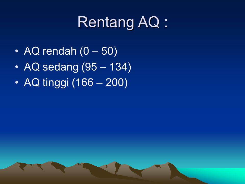 Rentang AQ : AQ rendah (0 – 50) AQ sedang (95 – 134) AQ tinggi (166 – 200)