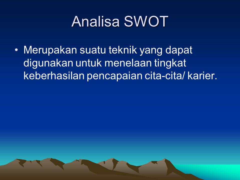 Analisa SWOT Merupakan suatu teknik yang dapat digunakan untuk menelaan tingkat keberhasilan pencapaian cita-cita/ karier.