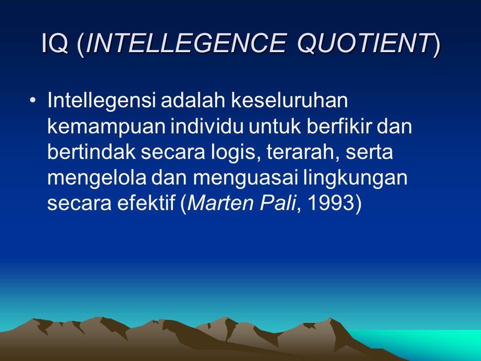 IQ (INTELLEGENCE QUOTIENT) Intellegensi adalah keseluruhan kemampuan individu untuk berfikir dan bertindak secara logis, terarah, serta mengelola dan menguasai lingkungan secara efektif (Marten Pali, 1993)