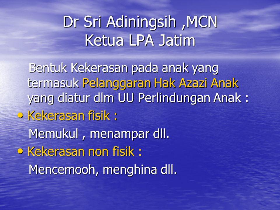 Dr Sri Adiningsih,MCN Ketua LPA Jatim Bentuk Kekerasan pada anak yang termasuk Pelanggaran Hak Azazi Anak yang diatur dlm UU Perlindungan Anak : Bentu