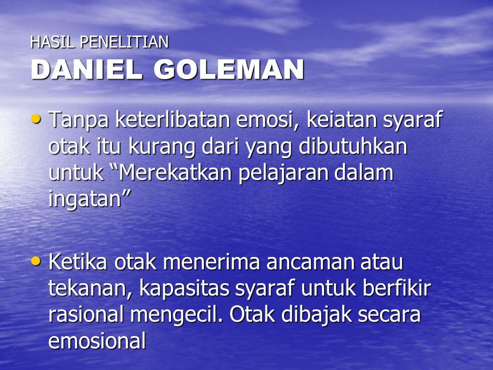 """HASIL PENELITIAN DANIEL GOLEMAN Tanpa keterlibatan emosi, keiatan syaraf otak itu kurang dari yang dibutuhkan untuk """"Merekatkan pelajaran dalam ingata"""
