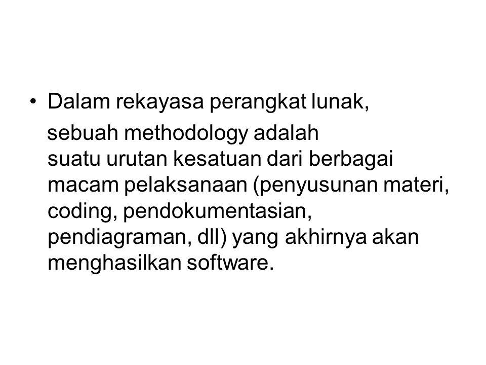 Dalam rekayasa perangkat lunak, sebuah methodology adalah suatu urutan kesatuan dari berbagai macam pelaksanaan (penyusunan materi, coding, pendokumentasian, pendiagraman, dll) yang akhirnya akan menghasilkan software.